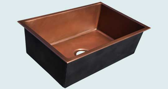Kitchen Sinks - Copper Kitchen Sinks- Custom Kitchen Sinks Copper Kitchen Sinks - Smooth Drop-In With Drain In Center Position # 4306